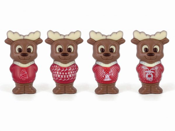 Assortment chocolate Moose printed Christmas sweater Belfine ChocDecor