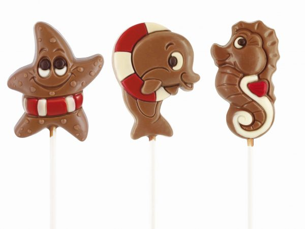 Seastar seahorse dolphin chocolate lollipop Belfine ChocDecor