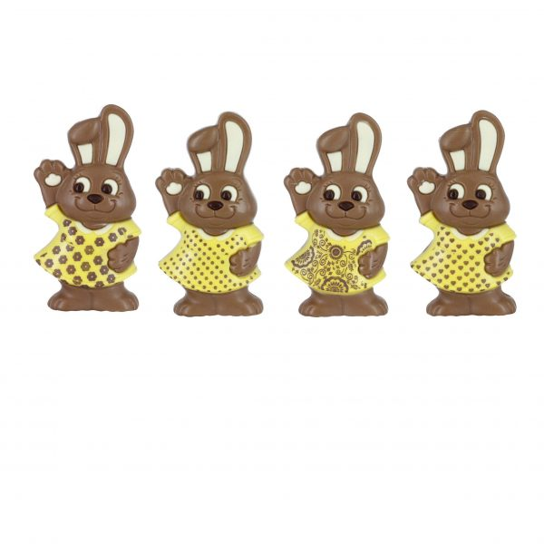 Easter chocolate bunny with different prints on dress Belfine