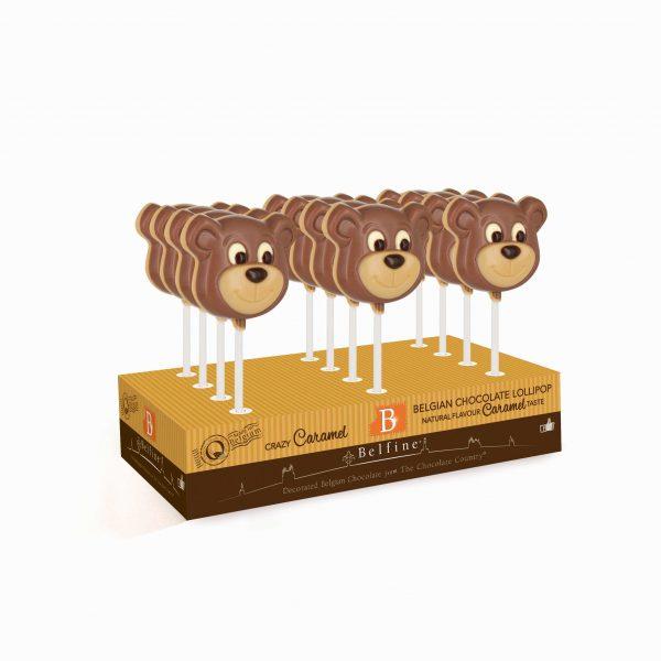 Caramel flavoured bear chocolate lollipop Belfine ChocDecor