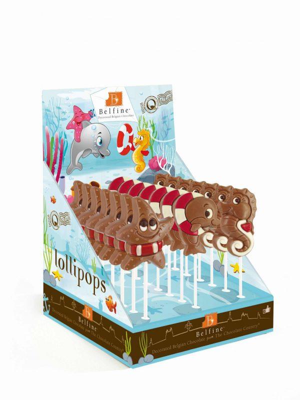 Seastar dolphin seahorse chocolate lollipop ChocDecor Belfine