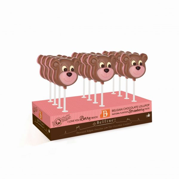 Strawberry flavoured chocolate lollipop ChocDecor Belfine