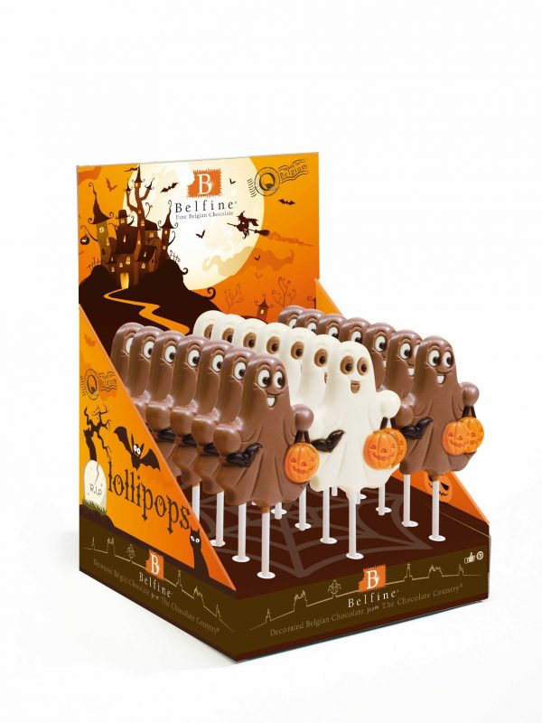 Ghost chocolate lollipop Halloween Belfine ChocDecor