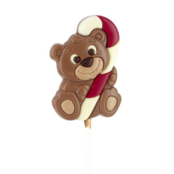 Milk chocolate bear lollipop with candy cane Belfine