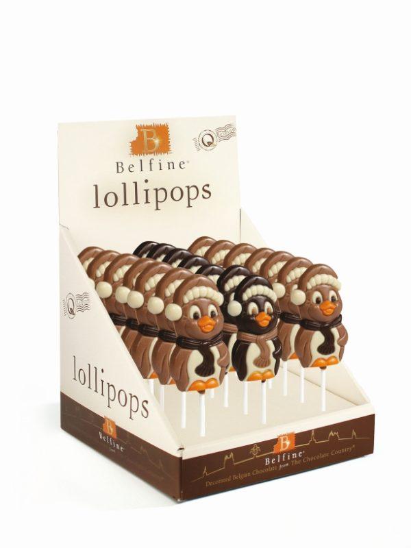 Milk & Dark chocolate penguin lollipop Belfine
